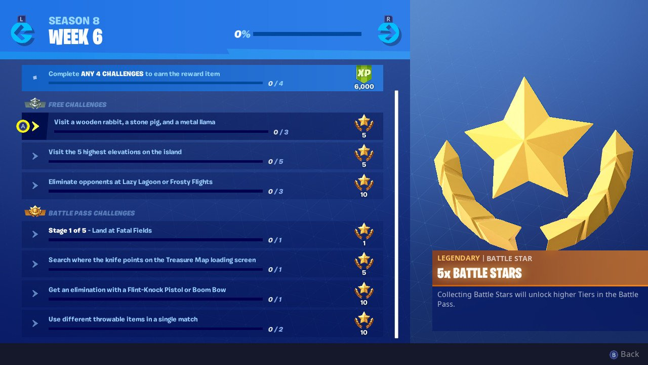 Fortnite Week 6 Challenges Visit A Wooden Rabbit Stone Pig And